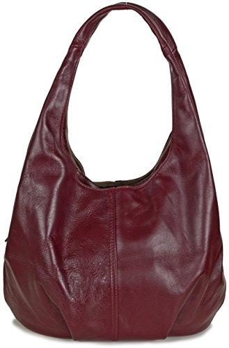 GROUP DE LUXE - Bolso al hombro de cuero para mujer Medium rojo - Red (Bordeaux)
