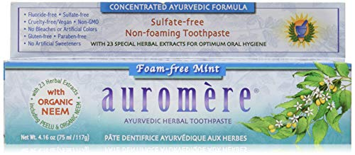 - Ayurvedic Herbal Toothpaste Foam-Free Mint by Auromere - Fluoride-Free, Natural, with Neem, Vegan and Sulfate-Free - 4.16 oz