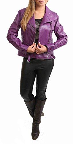Femme de Style Biker Cuir Véritable Aménagée Croix Zip Veste Hetty Violet