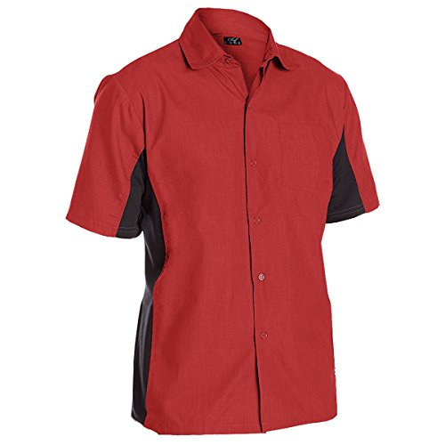 Utility Work Shirt Button Front Vent Side Panels (2XL, Red)