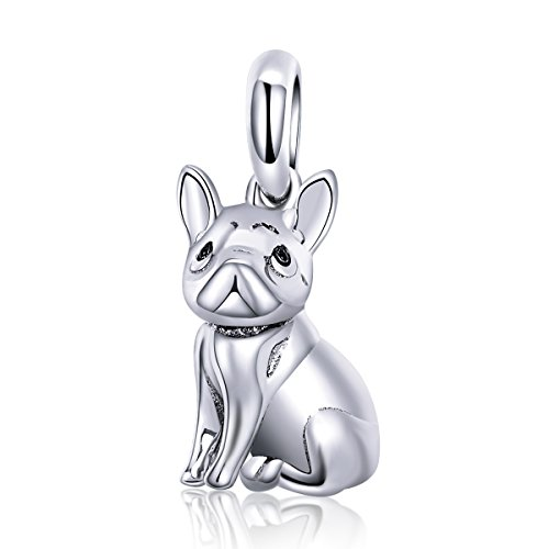 Forever Queen Dog Charm, 925 Sterling Silver Cute Loyal Partners French Bulldog Doggy Animal Pet Bead Charms fit Pandora Charms for Pandora Bracelets Jewelry, Animal Lovers BJ09001 (Dog Dangle Charm)