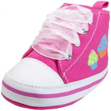 Gerber Baby Girl Cupcake High Top Soft Sole Crib Shoes with Organza Laces
