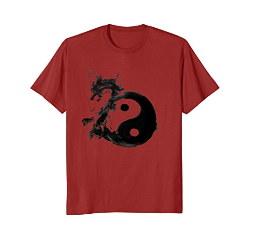 Texture Water - Mens Tai Chi Symbol With Dragon In Dark Water Ink Texture T-Shirt XL Cranberry