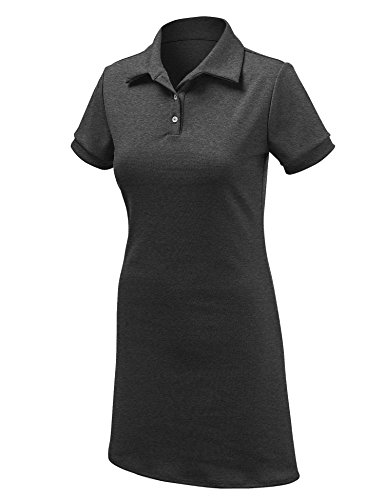 Se Réunir Californie Femmes Manches Courtes Robe Polo - Made In Usa Wdr1379_black_charcoal