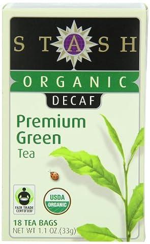 Stash Tea Organic Decaf Premium Green Tea, 18 Count Tea Bags in Foil (Pack of 6)
