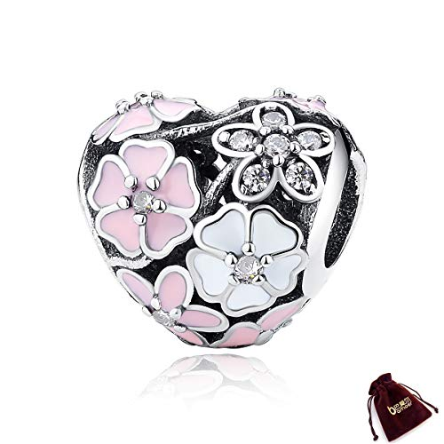 (BAMOER Charm 925 Sterling Silver Poetic Daisy Flower Heart Enameled CZ Solid Charms Beads for DIY Bracelet Accessories)