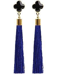 Elegant Four-leafed Clover Style Women Long Thread Tassel Drop Dangling Earrings Ear Studs