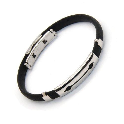 Franki Baker - Bracelet pour Homme en Caoutchouc et Acier Inoxydable