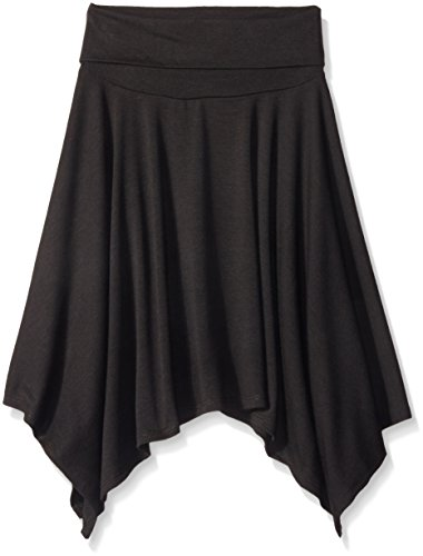 (Amy Byer Big Girls Hanky Hem Skirt, Black, Large)
