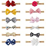 Jstyle 12Pcs Baby Girl Headbands and Bows,Hair Accessories for Newborn Infant Toddler Girls Nylon Headbands Kids Gifts