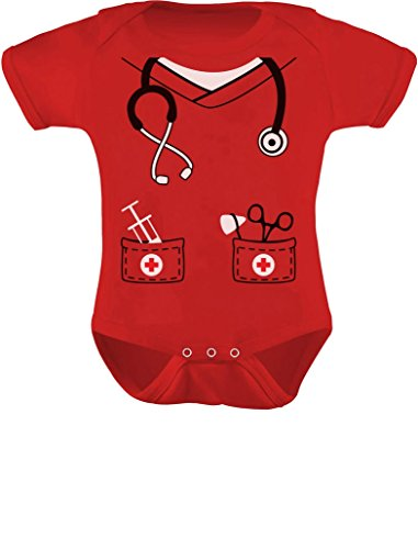 [Infant Doctor, Nurse, Physician Halloween Easy Costume Cute Baby Bodysuit 12M Red] (Cute Baby Boy Costumes Ideas)