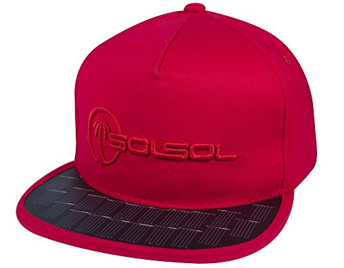 SOLSOL Snapback Hat Collection 2.0, The Solar Hat that Charges... (One Size Fits All, Red)
