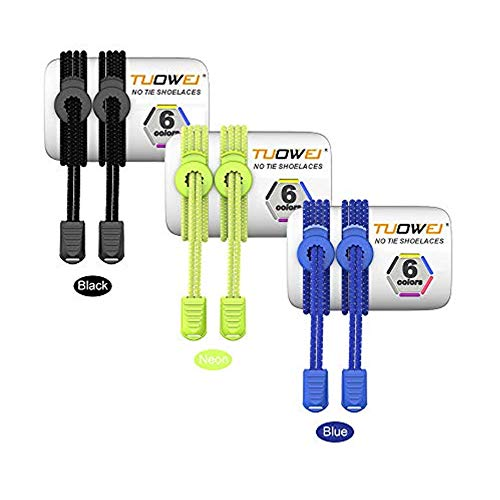 Pack of 3 (Black,Neon,Blue) Elastic Sneakers Boot Athletic Running Shoe Strings No Tie Shoelaces One Size Fits All Shoe Laces