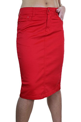 Extensible pour Style Taille 2516 Brillant Jupe Jeans Grande en Ice Rouge Chinos fAwHIxqwB8