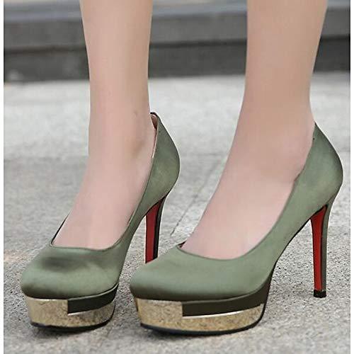 ZHZNVX Zapatos de Mujer Lienzo Primavera Bomba básica Tacones Tacón de Aguja Negro/Ejército Verde/Rojo Army Green