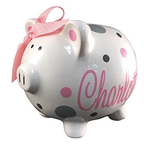 Personalized Baby Bank - Personalized Piggy Bank with Name and Polka dots, Medium Size White with Vinyl Design, Pick Your Colors