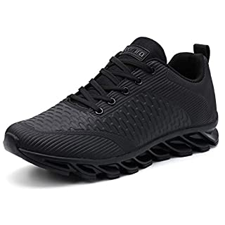 JOOMRA Leather Men Tennis Shoes All Black Work Jog Walking Gym Male Comfy Autumn Casual Fashion Street Footwears for Man Trainers Athletic Sneakers Size 10
