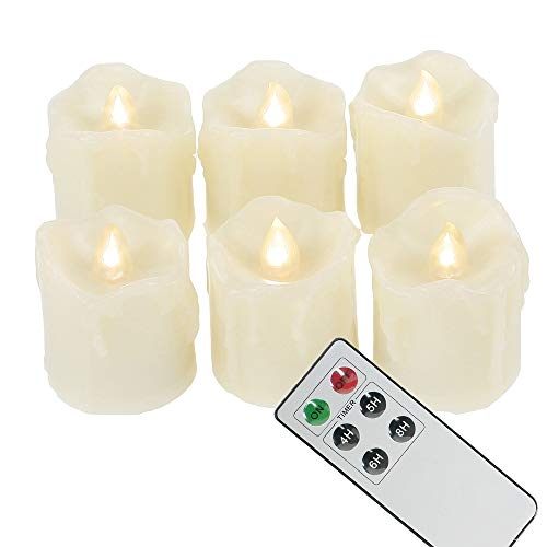 6 Battery Operated LED Votives with Remote Timer Small Unscented Flickering Flameless Electric Candles for Kitchen Home Decor Baptism Wedding Party Decorations Centerpieces Favors Gifts Batteries Incl from CANDLE CHOICE