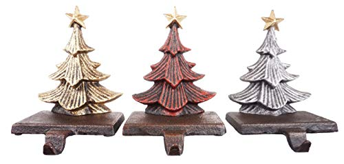 LuLu Decor, Cast Iron Christmas Tree Stocking Holders, Sold in Set of 3 Trees in Metallic Red, Gold and Silver Finish, Beautiful, Heavy, Sturdy Stocking Hooks (Color Trees)