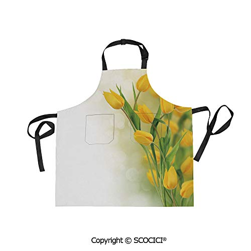 SCOCICI Unisex Waterproof and Dirty Resistant Printing Kitchen Apron,Romantic Tulip Bouquet Famous Plant of Netherlands Botanical Theme Decorative,for Cooking Baking Gardening ()