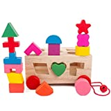 1 Pack Intelligence Box Shape Matching Blocks Baby Kids Push Pull Toy Preschool Wooden Educational Toy With 15 Holes And Shapes