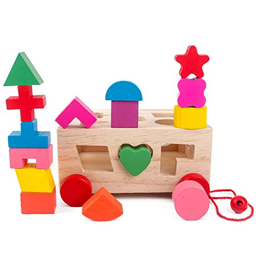 Objective Childrens Early Education Wooden Geometric Shape Seventeen Holes Paired Trailer Building Blocks Toy Wooden Building Blocks Model Building Blocks