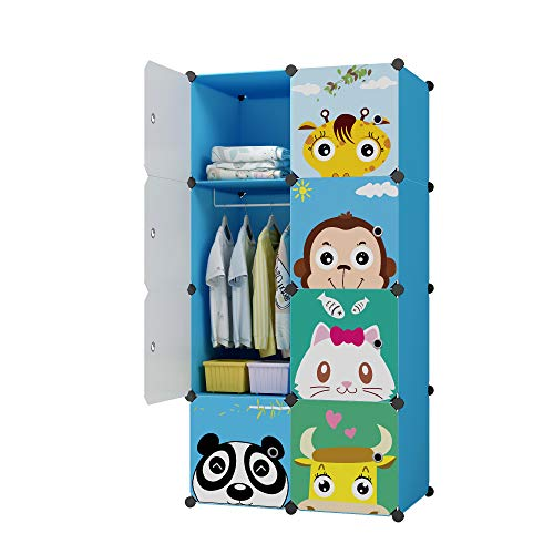 KOUSI Portable Kids Wardrobe Closet Children Dresser Hanging Storage Rack Clothes Closet Bedroom Armoire Cube Organizer Formaldehyde-Free Furniture (Blue, 6 Cubes&1 Hanging Section)