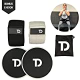 TD Fabric Resistance Bands and Sliders – Heavy Duty Exercise Resistance Loops for Legs & Butt – Workout Booty Bands & Core Sliders – Fitness Gym Band + Perfect for Strength Training & Weight Loss