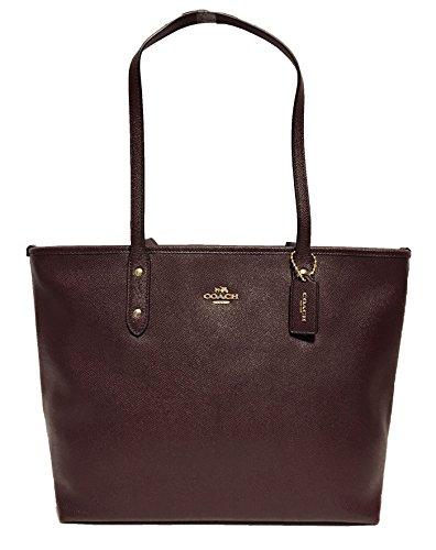 Coach Cross Grain Leather City Zip Tote Bag Purse (Oxblood) by Coach