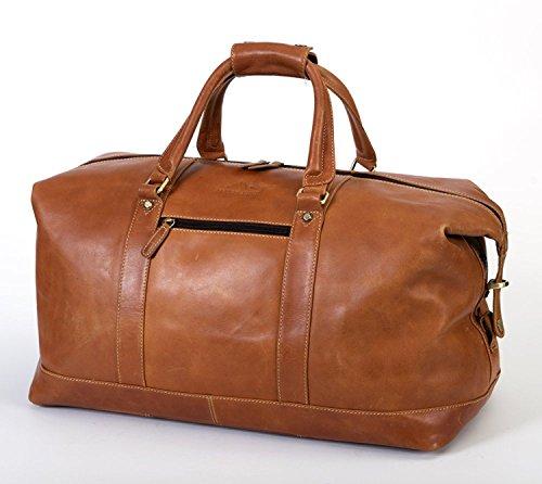 Cheap  ALPENLEDER Large Leather Duffel Bag, Weekender Bag, Award Winning Design, Cognac