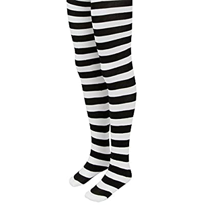 Black & White Striped Mid-Rise Halloween Children's Cosplay Costume Tights (Large): Clothing