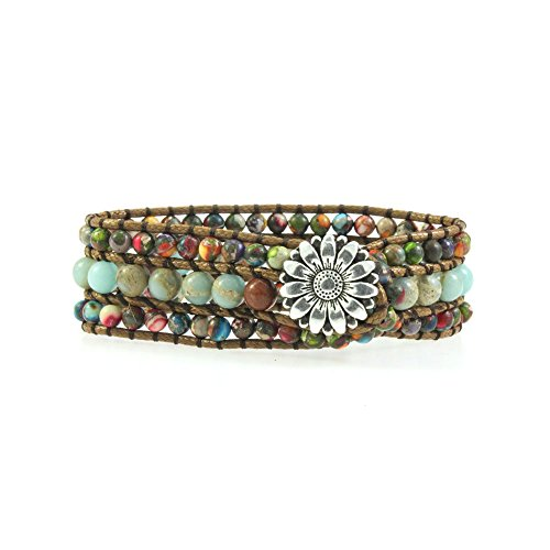 YHY Handmade Sunflower Buckle Genuine Imperial Jasper Stone Beads Wrap Cuff Bangle Bracelet