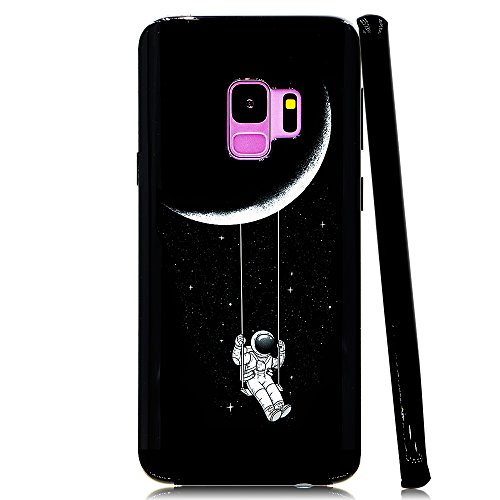 Lartin Astronaut Riding a Swing Tethered to the Moon Soft Flexible Jellybean Gel TPU Case for Samsung Galaxy S9