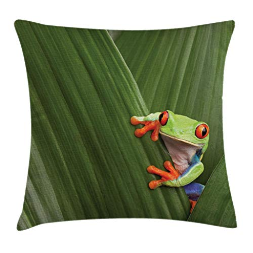 Ambesonne Animal Throw Pillow Cushion Cover, Red Eyed Tree Frog Hiding in Exotic Macro Leaf in Costa Rica Rainforest Tropical Nature, Decorative Square Accent Pillow Case, 18 X 18 Inches, Green