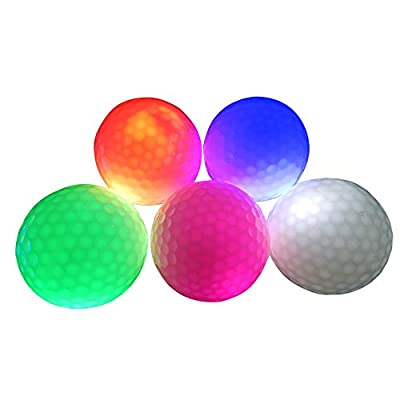 AZXAZ 2 pcs Led Golf Balls Light Up for Night Training Flashing Golf Ball Glow in The Dark for Long Distance Shooting Random Delivery