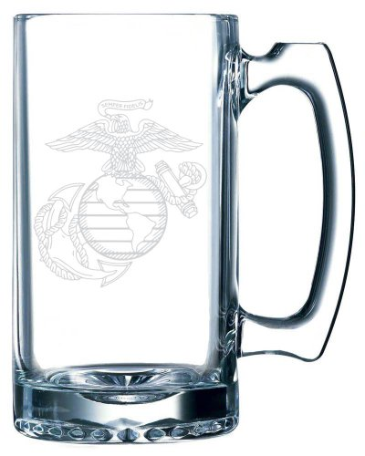 United States Marines Etched 25oz Libbey Sports Beer Mug