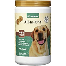 NaturVet - All-in-One Support - Helps Support Your Dog's Essential Needs & Overall Health - Digestion, Skin, Coat, Vitamins & Minerals, Joint Support - 120 Soft Chews