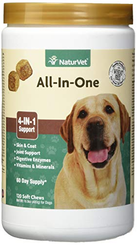NaturVet - All-in-One Support - Helps Support Your Pet's Essential Needs & Overall Health - Digestion, Skin, Coat, Vitamins & Minerals, Joint Support - 120 Soft Chews ()
