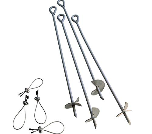 (Beach Decor Premium 4-Piece 30-Inch Reusable Heavy Duty Steel Earth Auger Anchor Kit with 4 Clamp-on Wire Tie-Downs for Anchoring Shelters, Canopies, and Instant)