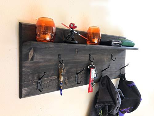 Wall Organizer Shelf, Coat Holder, Key Holder, Racks (Ebony)