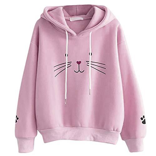 Amlaiworld Women Hooded Jumper Sweater Long Sleeve Halloween Pullovers Sweatshirts Casual Tops (XL, Pink)