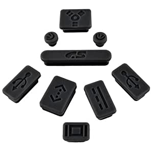 Insten 9-pieces Anti-dust Silicone Plug Cup Compatible With Apple MacBook Pro, Black
