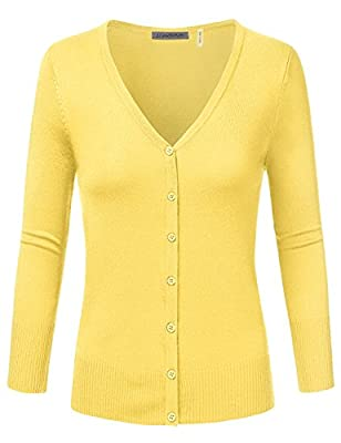 JJ Perfection Women's 3/4 Sleeve V-Neck Button Down Knit Cardigan Sweater
