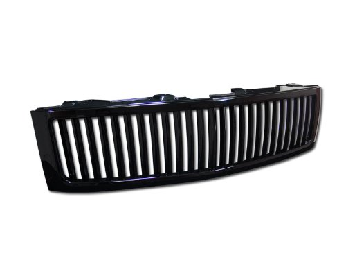 BLACK VERTICAL FRONT HOOD BUMPER GRILL GRILLE GUARD ABS 2007-2013 CHEVY SILVERADO 1500 NEW BODY STYLE (Chevy Silverado Vertical Grille)