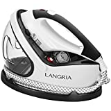 LANGRIA 2-in-1 Garment Steamer Iron Powerful Performance for De-Wrinkling Clothes Curtains Bedding with Nanoceramics Iron Panel Heats Up in 15 Seconds Supports 9 Steam Levels with Anti-Scald Glove