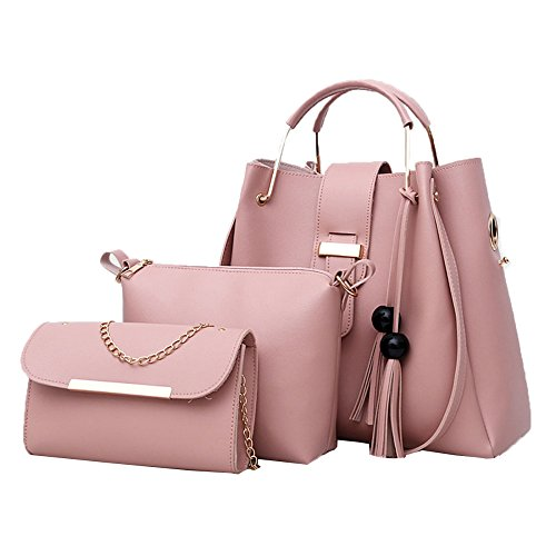 La Pink Cuero Pu 3pcs Set Las Mujeres Hombro Bolso De Messenger Bag Zhi Tote Wu Monedero UwIqpnZI