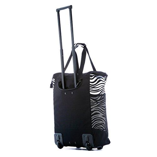 41CFUyHKj9L - Olympia Fashion Rolling Shopper Tote - Zebra Black, 2300 cu. in.