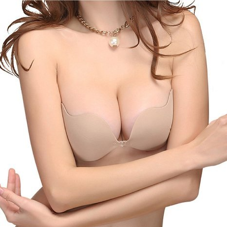 Reusable Self adhesion Bra Strapless Deep V Wing Breast Pad Push-up Invisible Bra (Cup B, Nude)