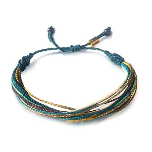 Festival Jewelry Turquoise and Metallic Gold Multistrand String Bracelet with Hematite Stones for Men and Women: Handmade Bohemian Pull Cord Beach Fri…