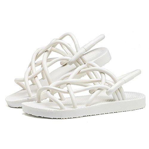 SHANGXIAN Parejas salvajes Flip Flops sandalias blanco negro (Compro uno, conseguir dos pares) White